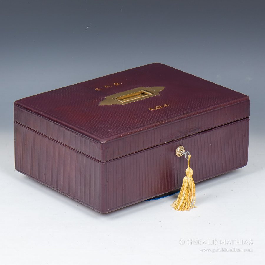#9898 A Burgundy Leather Documents Box with Fitted Tray C1870