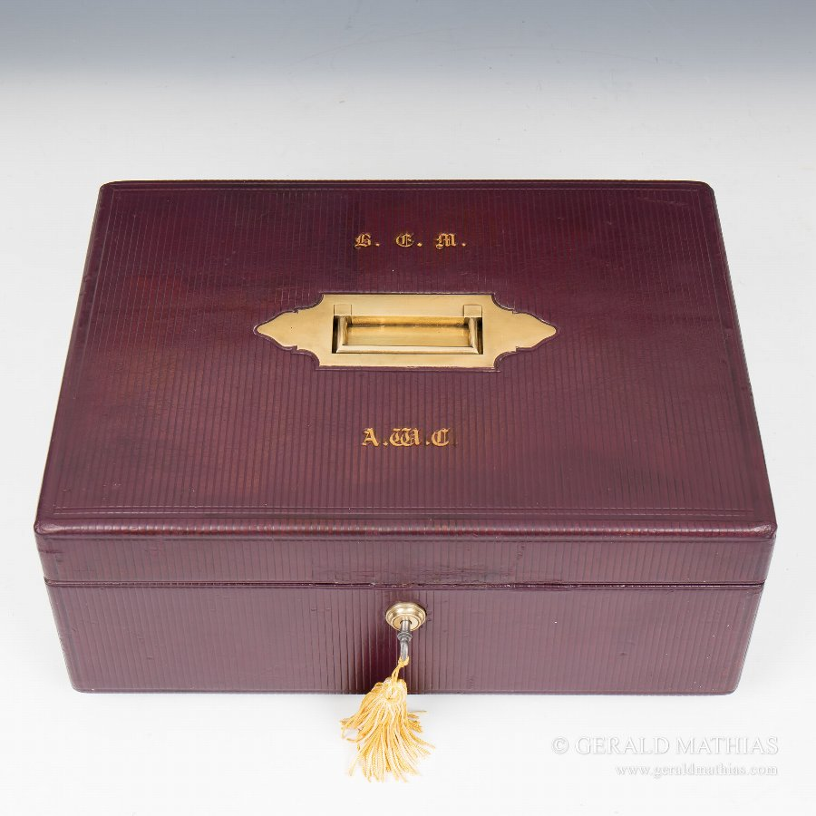 Antique #9898 A Burgundy Leather Documents Box with Fitted Tray C1870