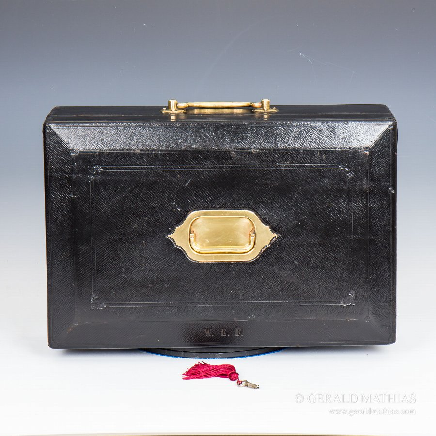 #9902 An Early 20th Century 'Wickwar' Black Morocco Leather Dispatch Box