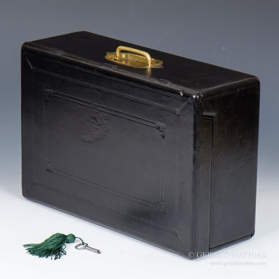 #9917 An Unusual Mid 19th Century Morocco Leather Documents Despatch Box with Drop Front by Wickwar.