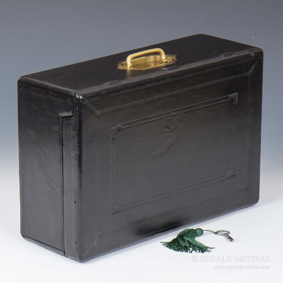 Antique #9917 An Unusual Mid 19th Century Morocco Leather Documents Despatch Box with Drop Front by Wickwar.
