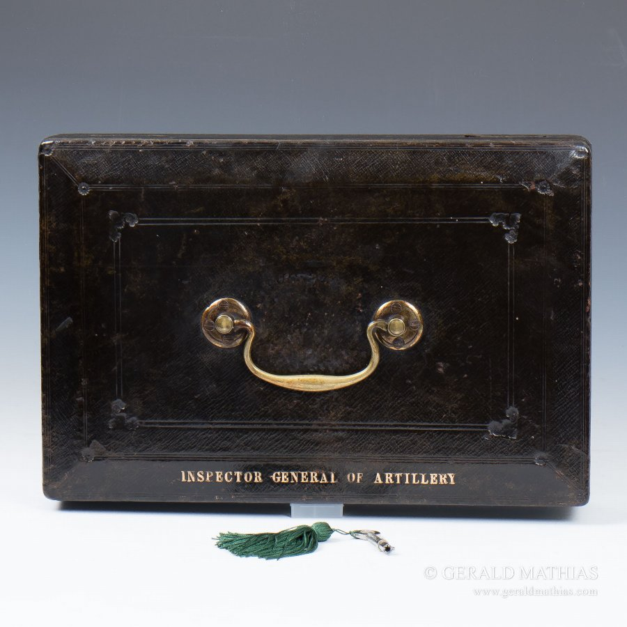 #9916 'Inspector General of Artillery' A Victorian Black Morocco Leather Wickwar Military Despatch Box.