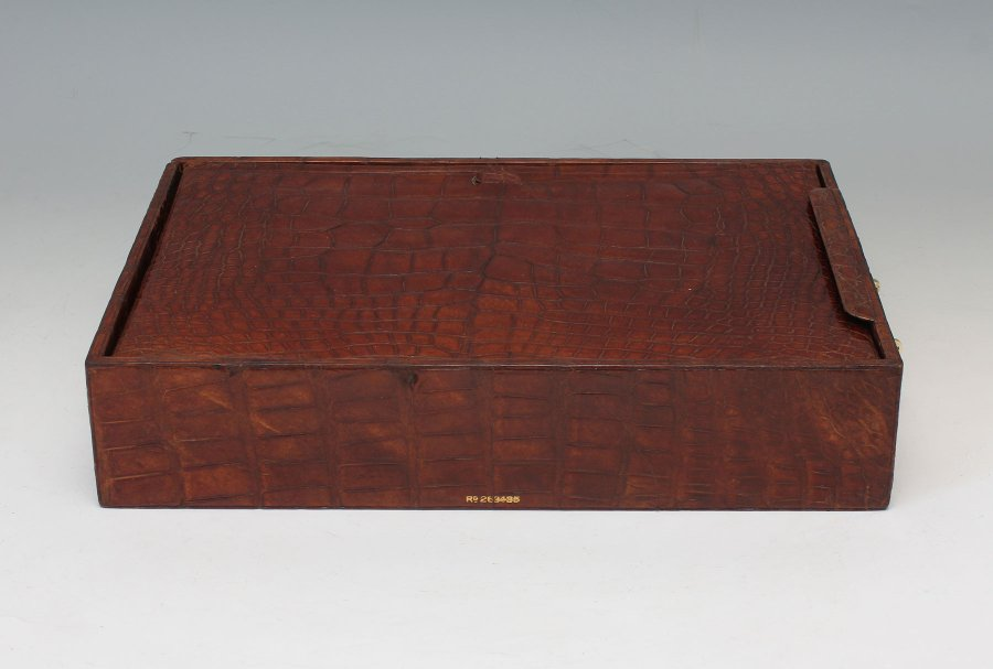 Antique #9486 J C Vickery. Edwardian Crocodile Filing Tray with Cover & Fitted Ink Well