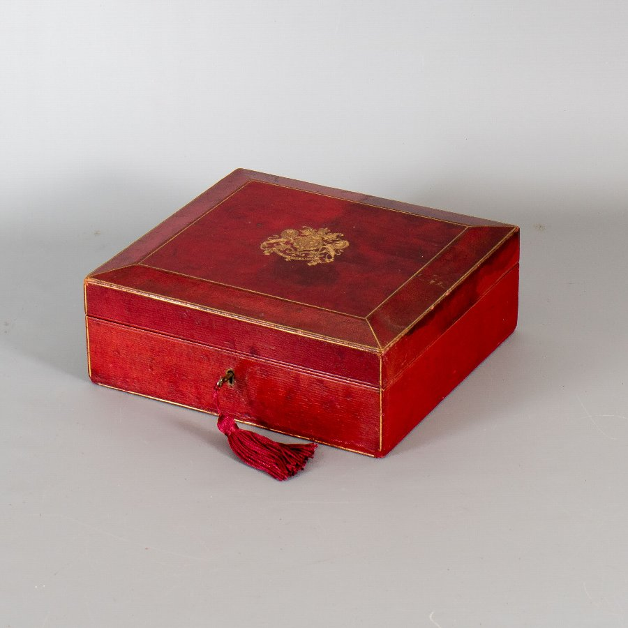 Antique #9843 Stuart Cunningham Macaskie. An Edwardian Letters Patent Document & Seal in a 'Wickwar' Red Morocco Leather Box with Royal Insignia.