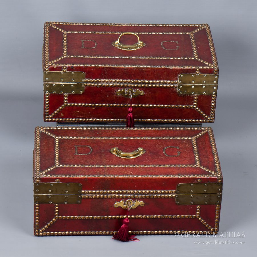 #9903 Daniel Giles. Mid 18th Century Pair of Red Leather Deed Boxes