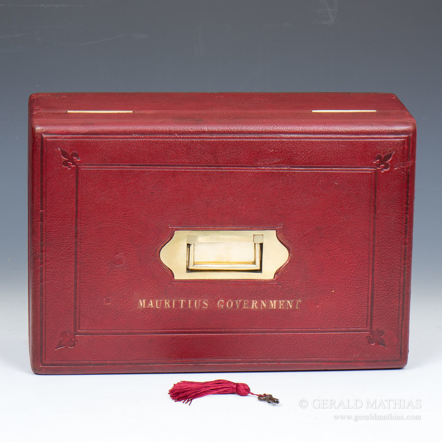 #9928 A 19th Century Government of Mauritius Red Leather Governmental Despatch Box