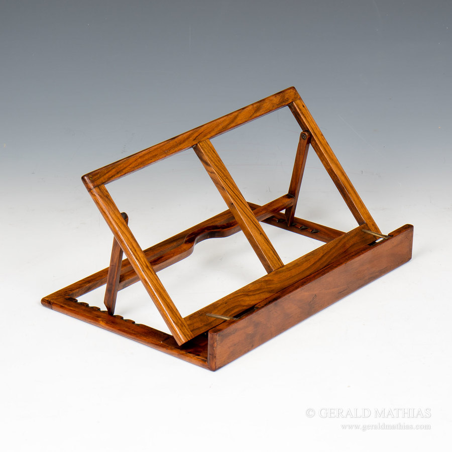#9929 A Small Victorian Walnut Campaign Folding Flat Book Rest or Music Stand