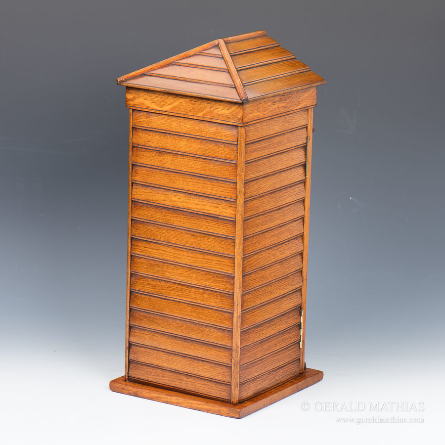 Antique #9923 An Edwardian Oak Post Box in the Form of a Sentry Box.