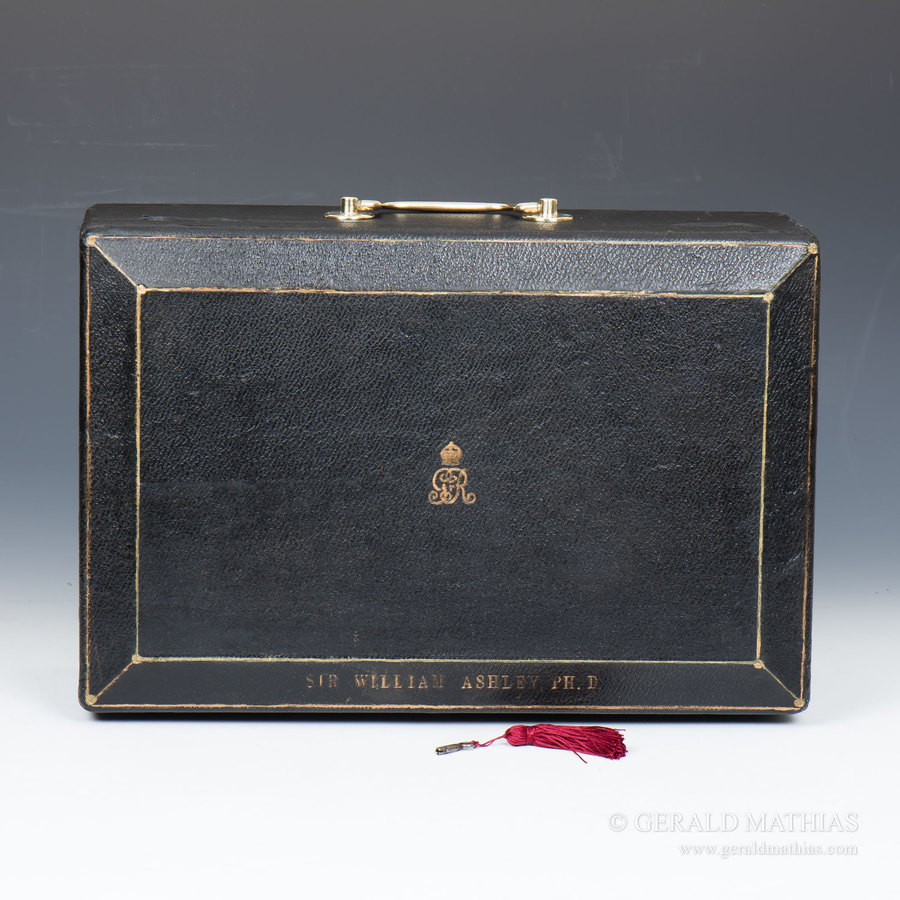 #9933 Sir William Ashley PH.D. A George V Black Leather Cloth Despatch Box.