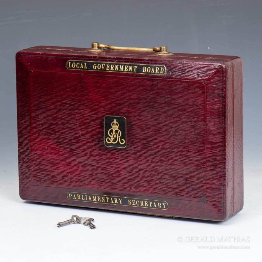 Antique #9895 A George V Red Morocco Leather Parliamentary Despatch Box by John Peck & Son.