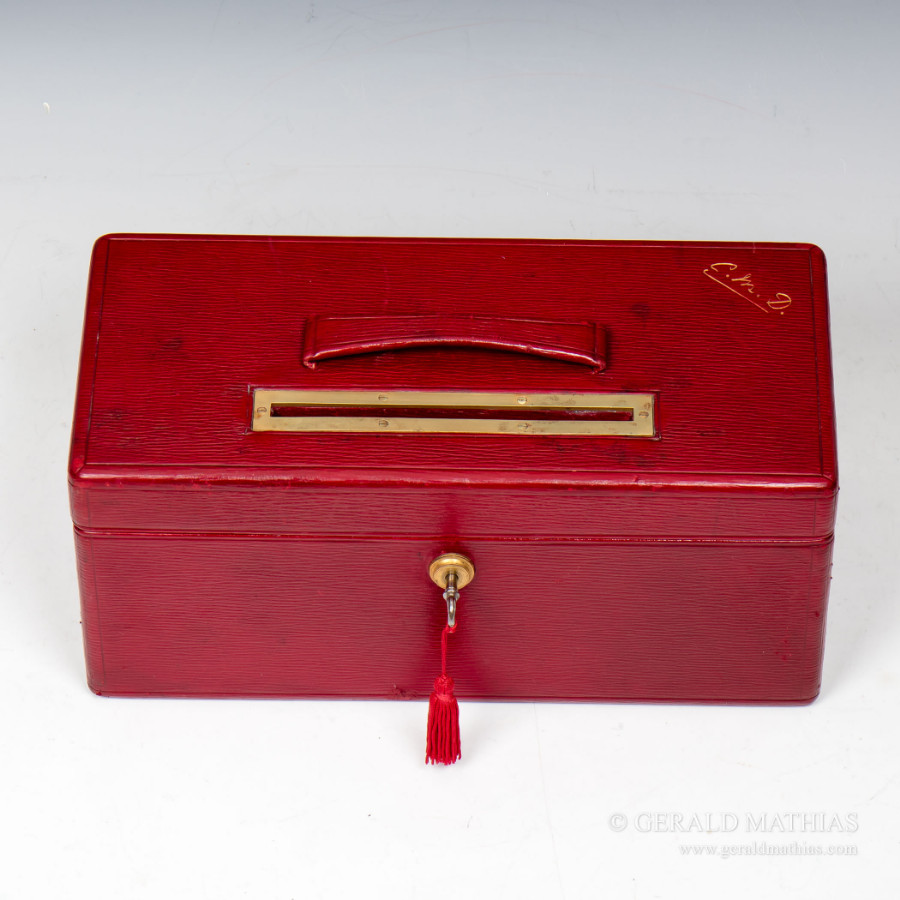 #9937 A Needs & Co. Edwardian Red Morocco Leather Post / Ballot / Suggestion Box.