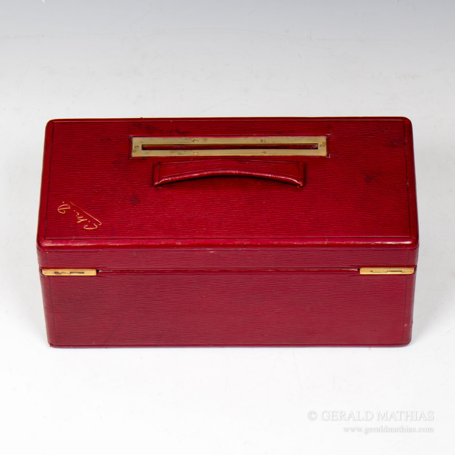 Antique #9937 A Needs & Co. Edwardian Red Morocco Leather Post / Ballot / Suggestion Box.