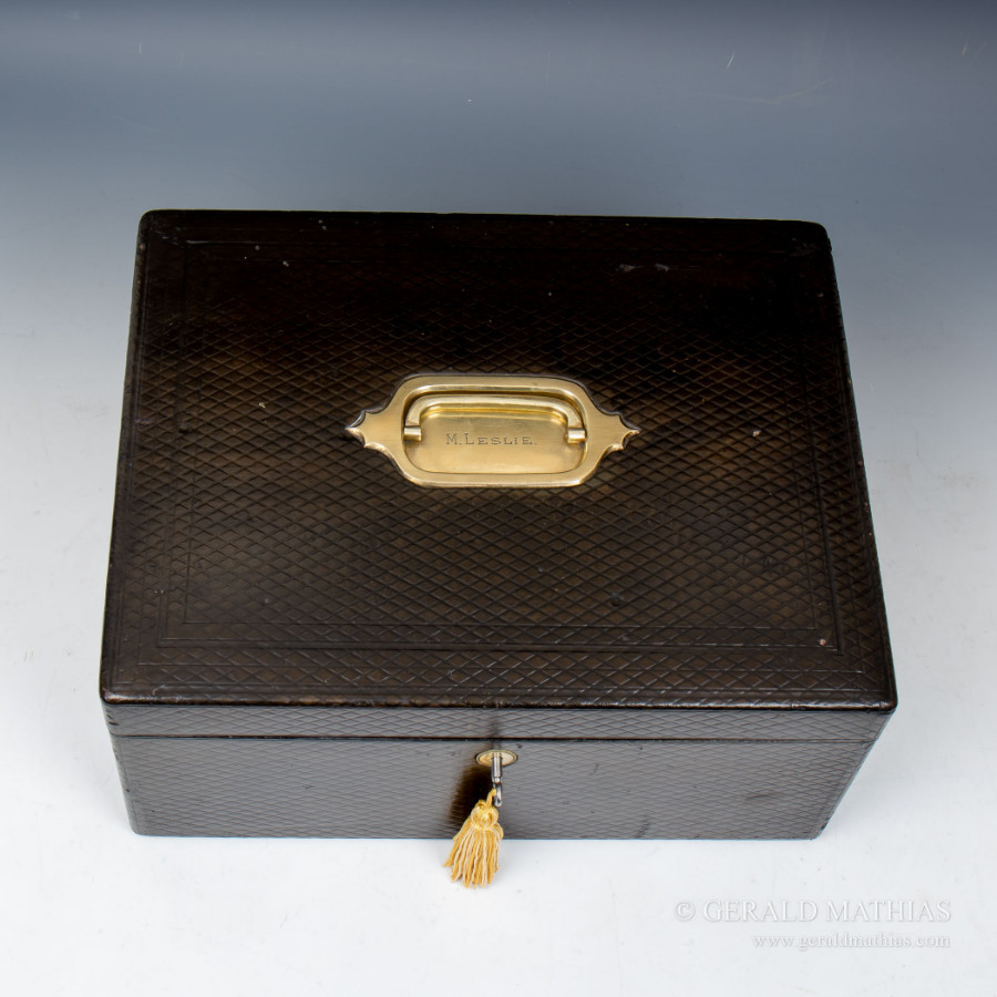Antique #9939 A Late 19th Century Black Leather Documents Box