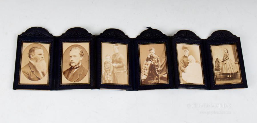 Antique #9941 W & J Milne, Edinburgh. Two sets of Victorian Leather Framed Cartes de Visite.