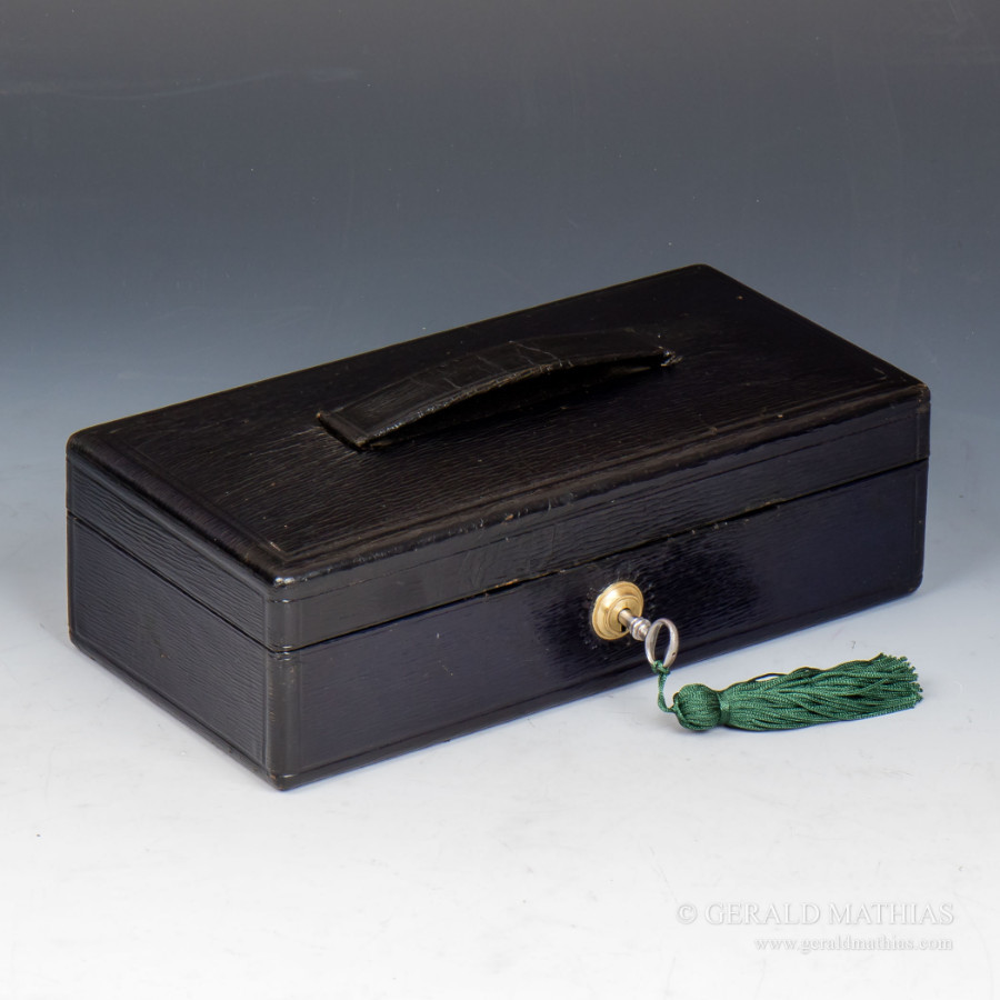 #9942: J.T. Needs (Late Bramah) A Small Late 19th Century Black Leather Despatch Box.