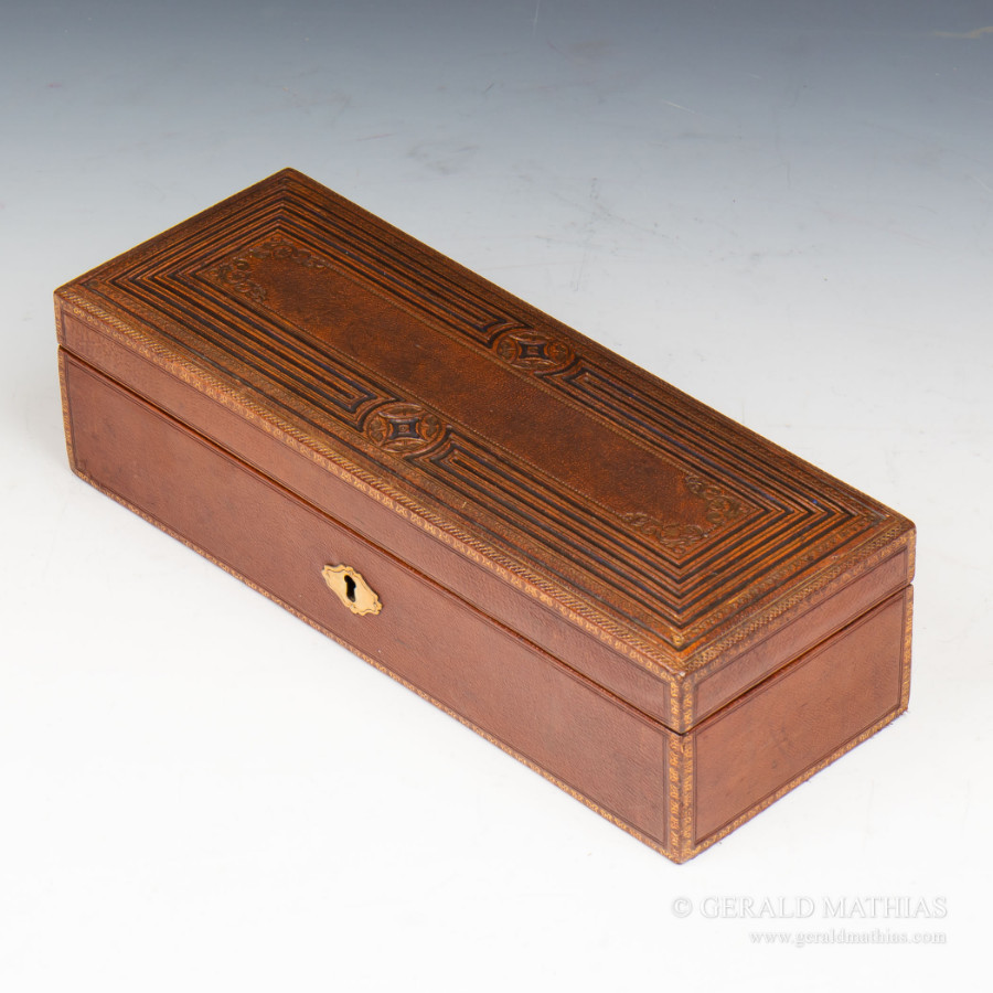 #9953 Asprey A Victorian Red Leather Sewing Box