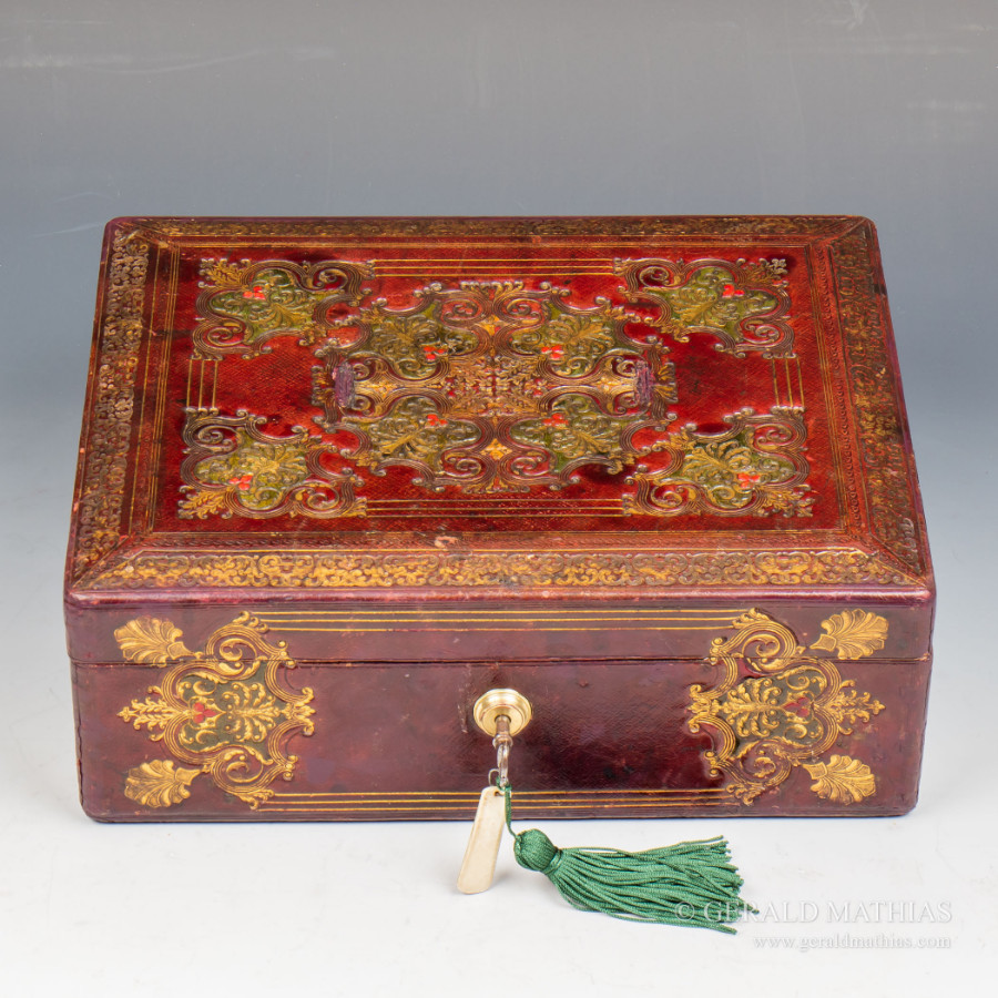 #9950 A Mid 19th Century Red Embossed Leather Box