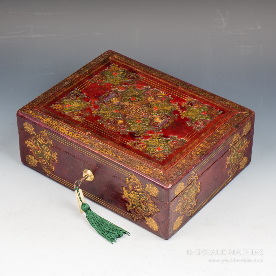 Antique #9950 A Mid 19th Century Red Embossed Leather Box