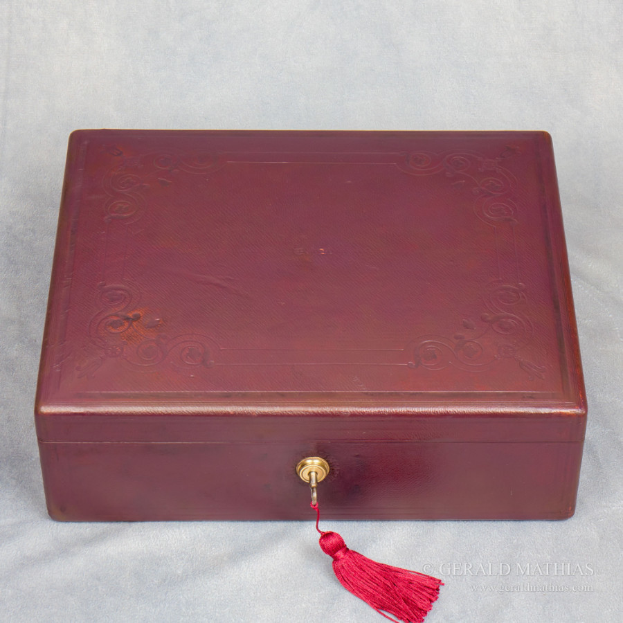 #9951 Green & Ward, London. A Burgundy Leather Box for Jewellery or Documents C1850.
