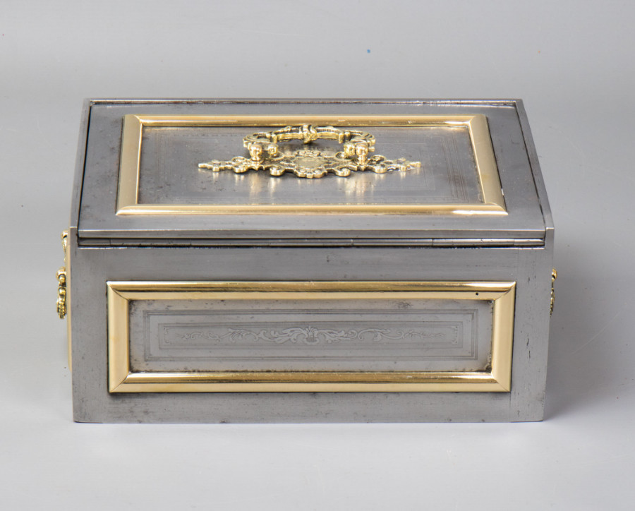 Antique #9811 Theodor Wiesse & Co. Steel Strong Box with Ornate Brass Mounts.