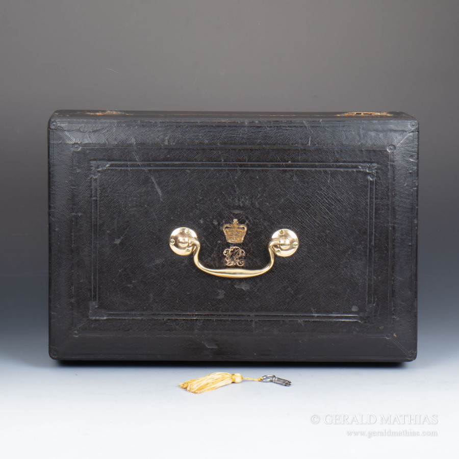 #9956 Wickwar & Co. A Victorian Black Leather Clad Government Despatch Box.