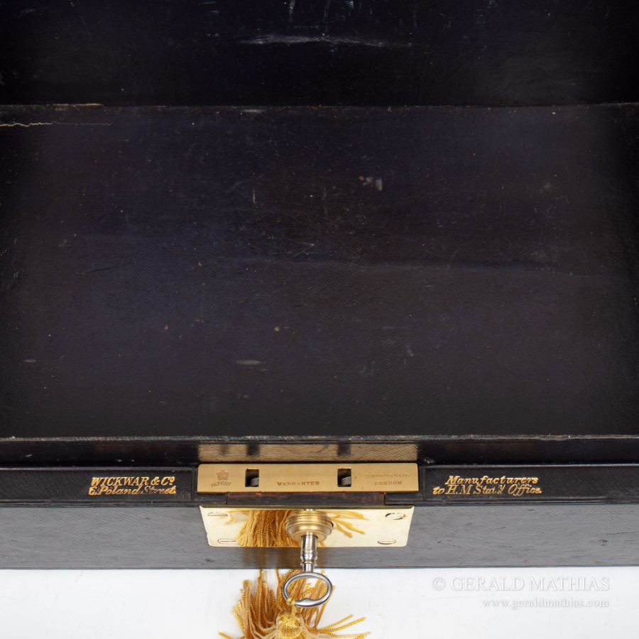 Antique #9956 Wickwar & Co. A Victorian Black Leather Clad Government Despatch Box.