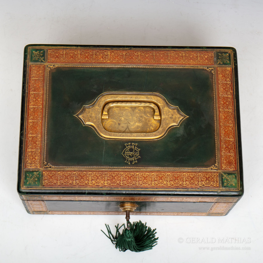 #9961 W & J Milne Edinburgh. A Victorian Green Leather Jewellery Box with Red Tooled Borders & Engraved and Gilded Brasswork.