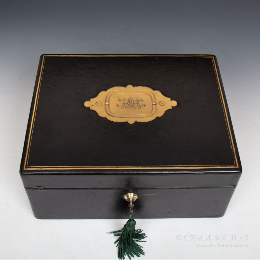 #9965 A Victorian Asprey Black Morocco Leather Documents Box with Asprey's Patent Handle.