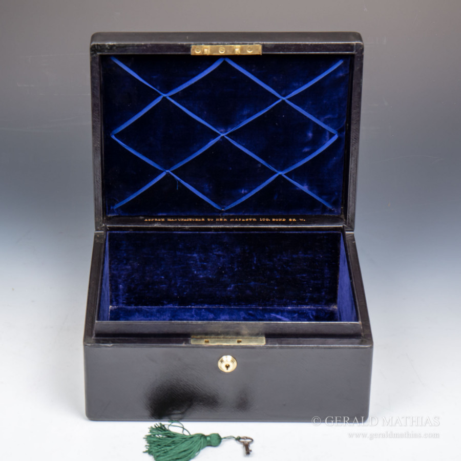 Antique #9965 A Victorian Asprey Black Morocco Leather Documents Box with Asprey's Patent Handle.