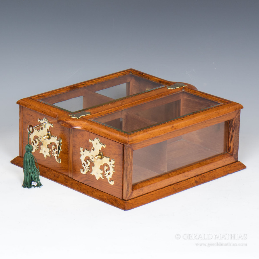 Antique #9909 An Edwardian Tobacconist's Oak & Glass Counter-Top Display Cabinet with Twin Drawers.