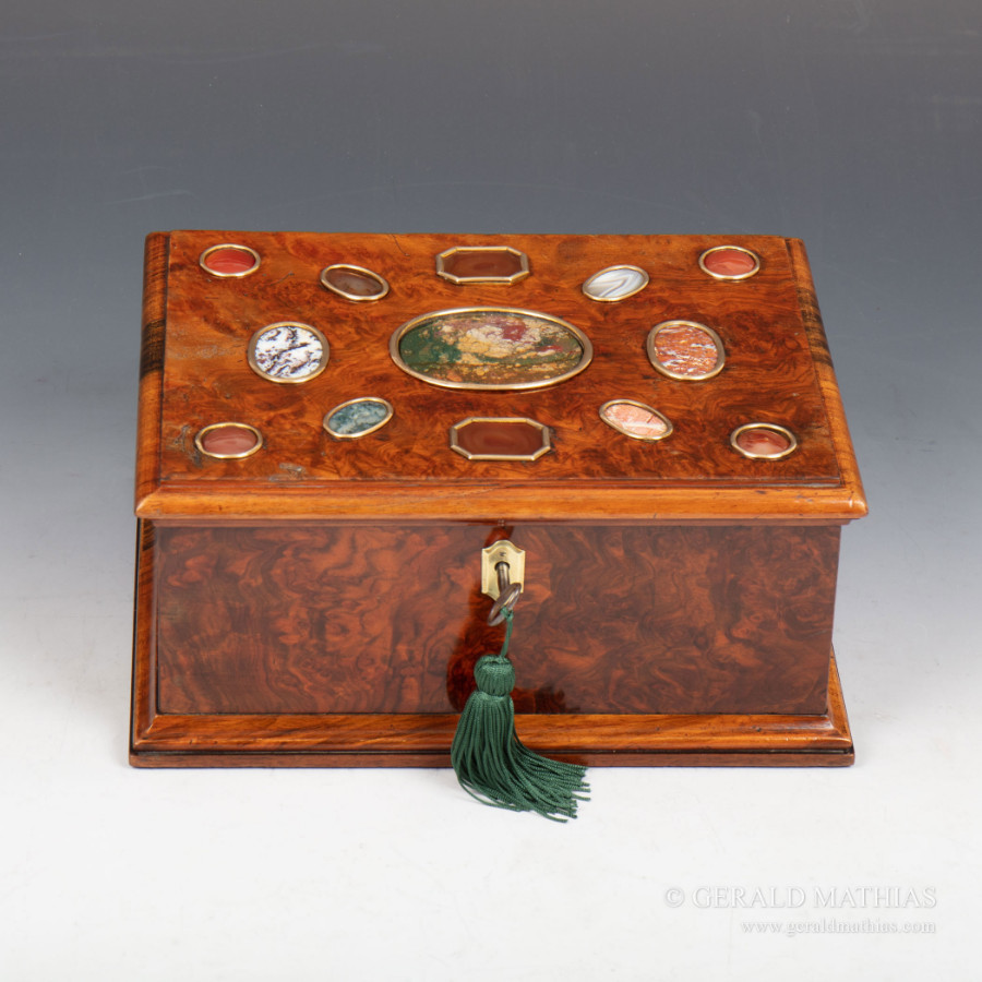 #9983 An early 20th Century Burr Walnut Box Decorated with Various Hardstones.
