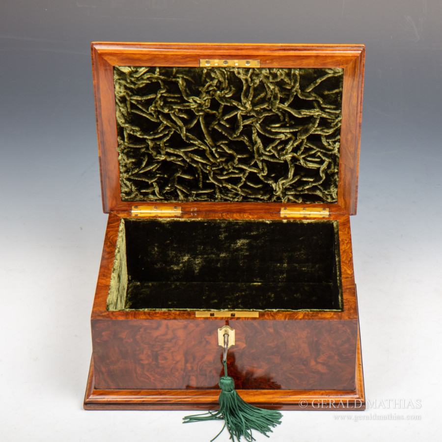 Antique #9983 An early 20th Century Burr Walnut Box Decorated with Various Hardstones.
