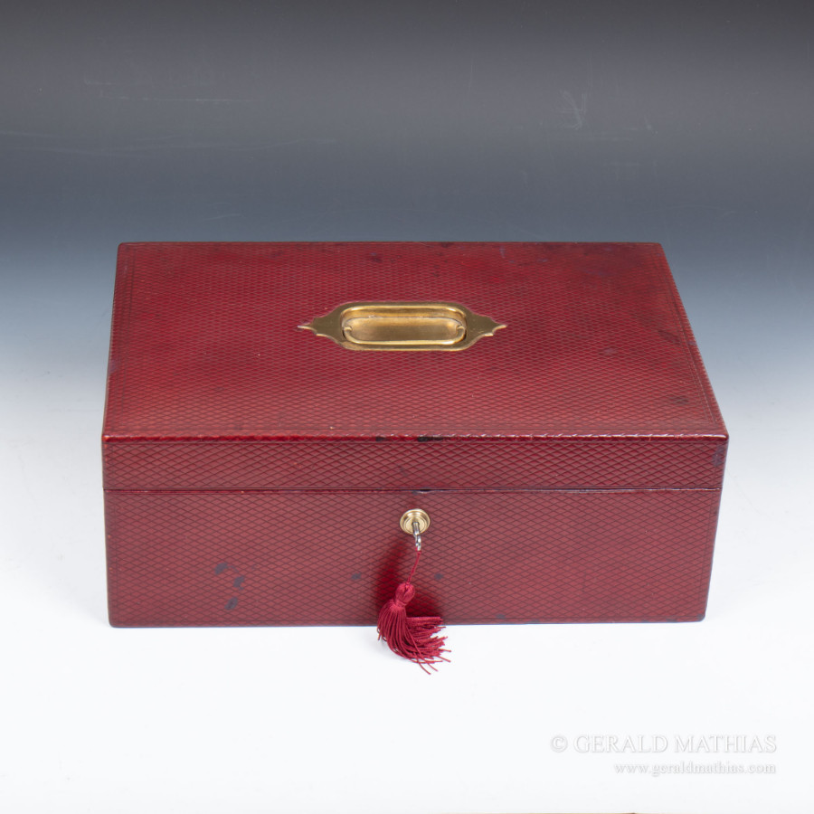 #9986 A Victorian Red Leather Covered Despatch Box