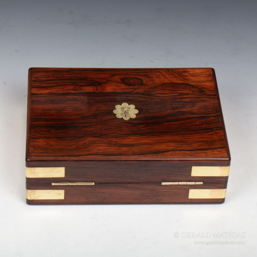 Antique #9979 An Early Victorian Brass Bound Rosewood Box