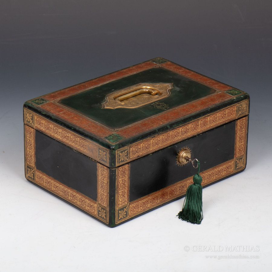 #9961 W & J Milne Edinburgh. A Victorian Green Leather Jewellery Box with Red Tooled Borders & En...