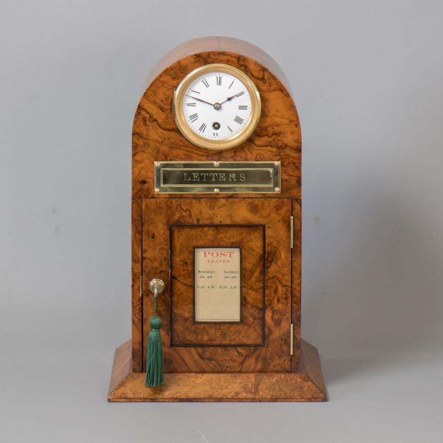#9845 A Victorian Arch Top Burr Walnut Country House Post Letters Box with 8 Day Timepiece.