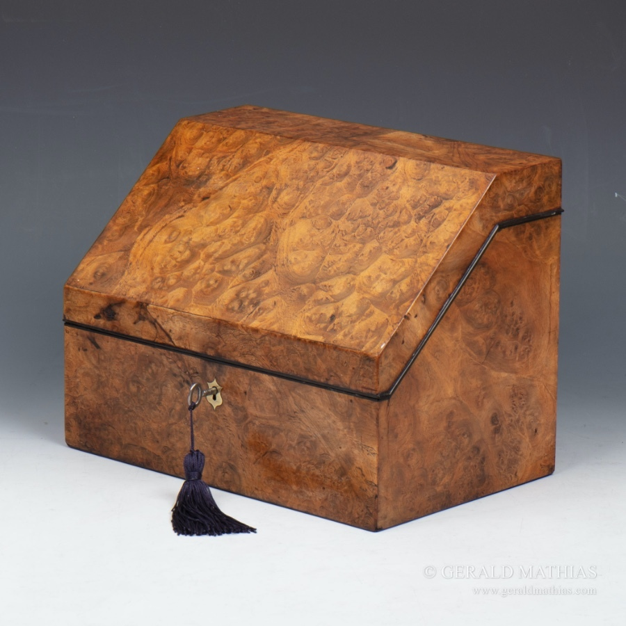 #9998 A Large Edwardian Burr Walnut Stationery Box