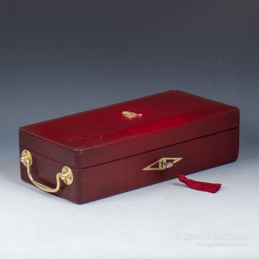 #9997 A Red Leather Cloth George V Despatch Box