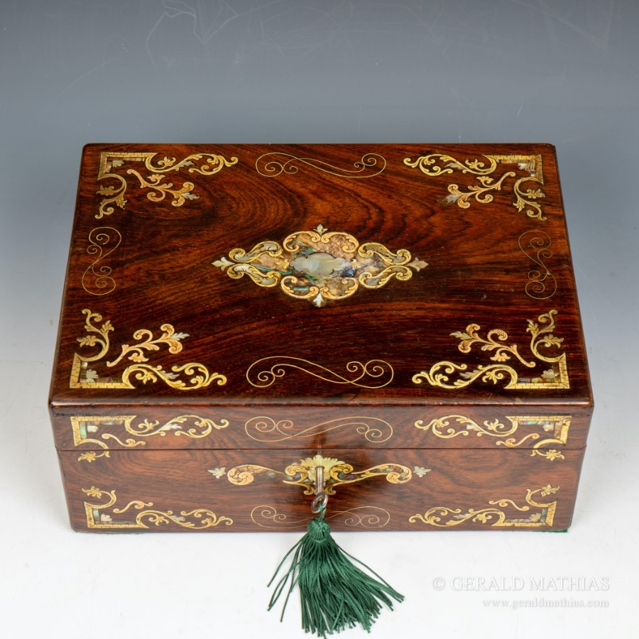 #10003 A Mid 19th Century Rosewood Work Box Inlaid with Brass, Abalone & Mother O' Pearl.