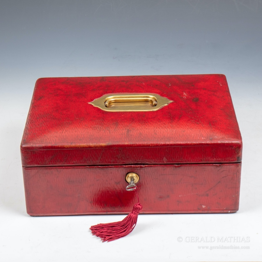 Antique #10007 Wickwar & Co. A Small Red Morocco Leather Despatch Box.