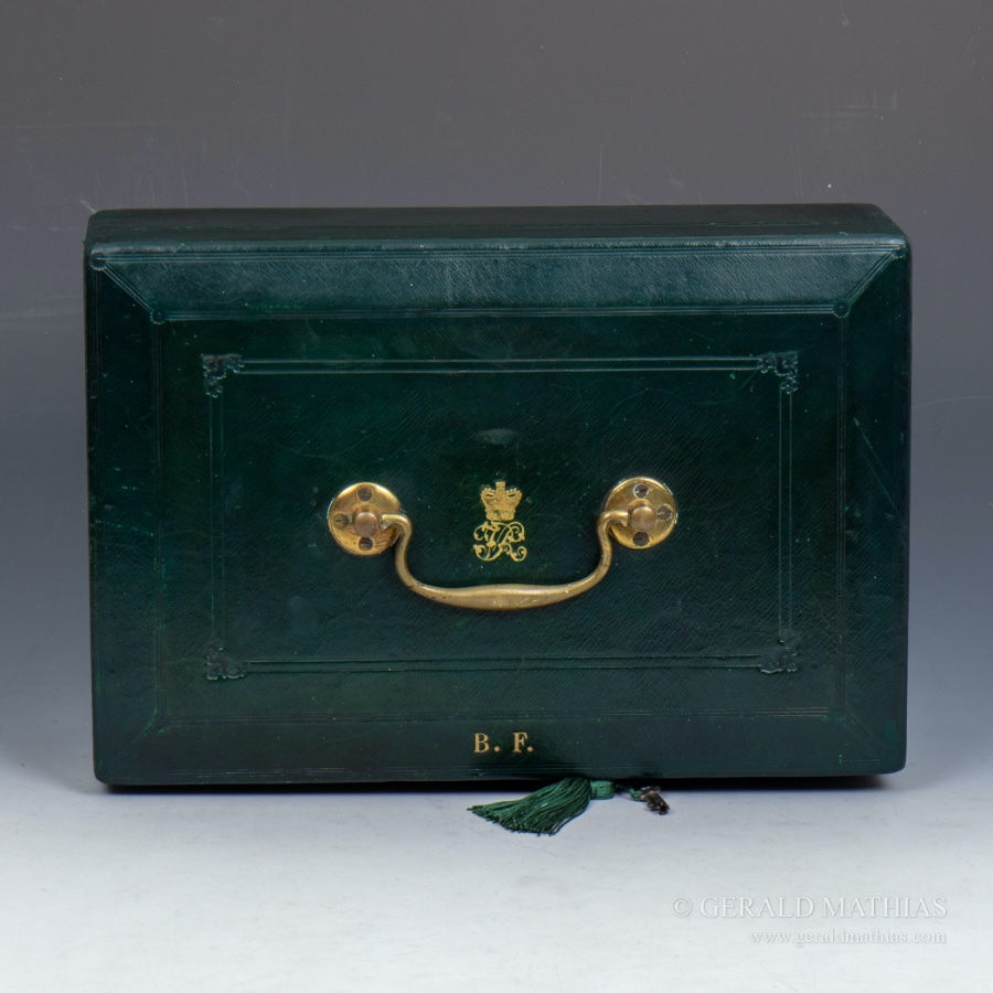 10011 A Victorian 'Wickwar' Green Leather Despatch Box with Royal Insignia.