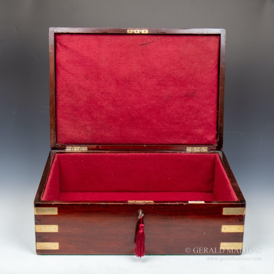 Antique #10017 A Large Early 20th Century Mappin & Webb Brass Bound Mahogany Documents Box