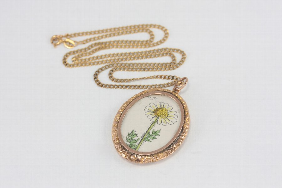 "Large Edwardian 9ct Gold Double Photo Locket Antique Flower Lithograph 18"" Chain"