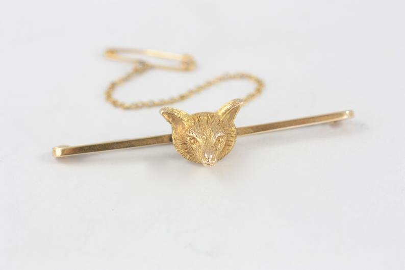 Antique 9ct Yellow Gold Fox Head Bar Brooch JC&S