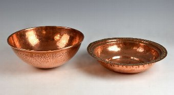 Antique Beaten copper bowl and Indian dish, (2)