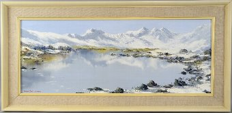 Antique Charles Wyatt-Warren (British, 1908-1993), snowy mountain landscape, signed, oil on board, 28cm x 74cm