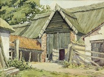 Antique James Henry Starling (British, 1905-1996). 'Norfolk Barn', watercolour, signed, 25cm x 35cm