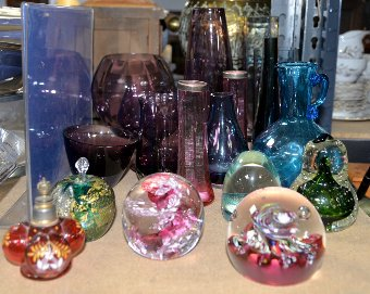Antique A group of 20th century coloured glassware including paperweights and vases