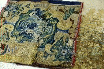 18th century Tapestry fragments  and an 1803 sampler worked by Mary Rudotoch, unframed