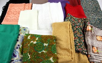 Antique Large quantity of assorted dress fabrics 60s, 70s and 80s including satin, paisley, Chiffon